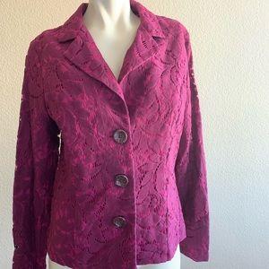 Cabi Frolic Jacket Plumberry Lace Blazer women's 6